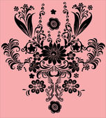 Single black ornament on pink — Stock Vector
