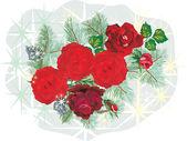 Rosas vermelhas e verde pinho ramos — Vetorial Stock