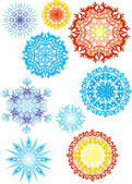 Color snowflakes collection — Stock Vector