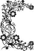Drie zwarte bloem curl — Stockvector