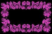 Marco cuatro pájaros rosa — Vector de stock