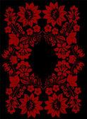 Dark red flower frame — Stock Vector