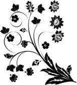 Black on white flower curls — Stock Vector