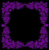 Violet frame with butterflies — Stock Vector