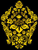 Golden traditional flower decoration — Stock Vector