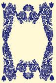Blue frame decoration on beige — Stock Vector
