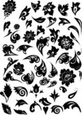 Black floral pattern elements — Stock Vector