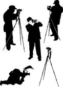 Photographer silhouettes — Stock Vector