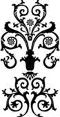 Zwarte symmetrische krullen — Stockvector