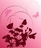 Papillons et arbre de la cerise rose foncé — Vecteur
