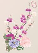 桜の木の花と牡丹 — ストックベクタ
