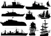 Ten ship silhouettes — Stock Vector