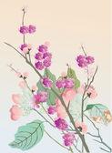 Kersenboom bloemen op roze — Stockvector