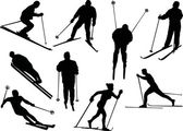 Different skier silhouettes — Stock Vector