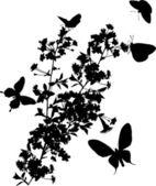 Five butterflies and cherry tree — Stock Vector