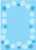 Blue and white snowflake frame — Stock Vector