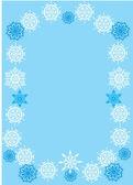 Blauwe en witte sneeuwvlok frame — Stockvector
