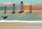 Oil derrickes in sea — Stock Vector