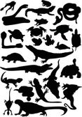 Reptile and amphibian silhouettes — Stock Vector