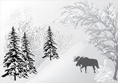 Winter landscape with elk — Stock Vector