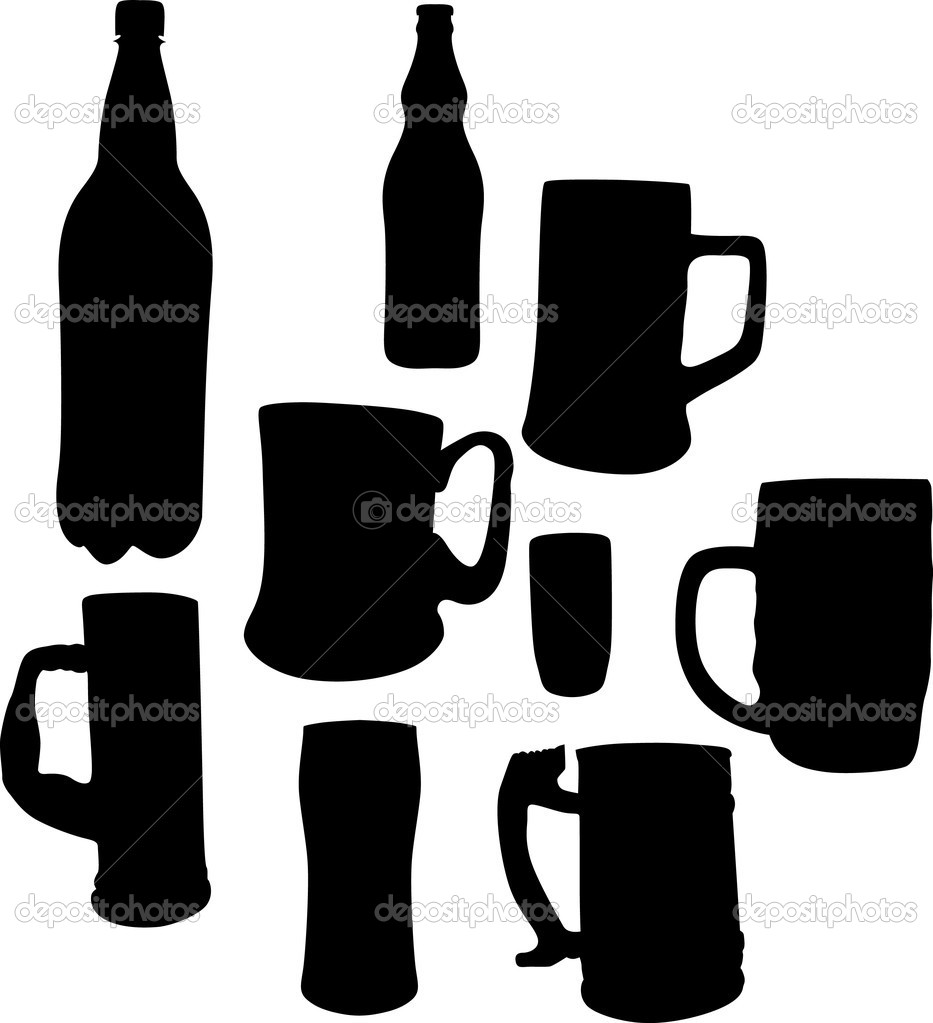Illustration with beer cups, glass and bottles silhouettes — Stock Vector #6260592