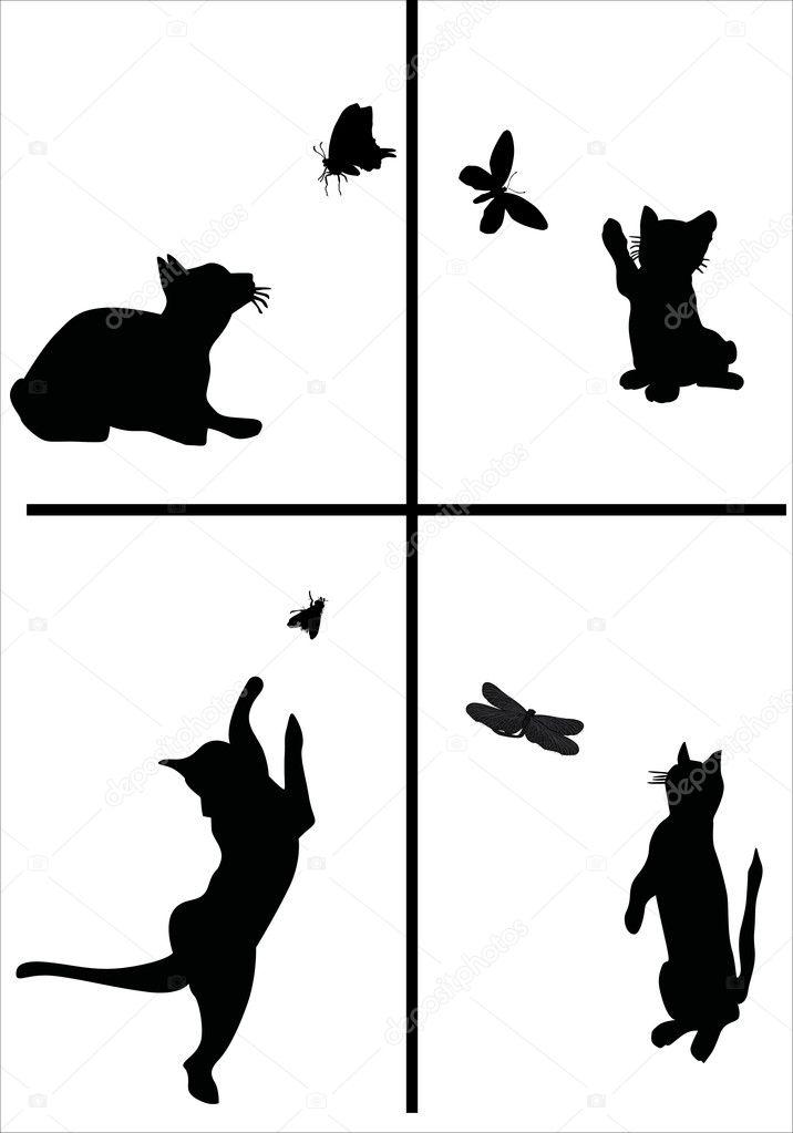 картинки кот ловит бабочек