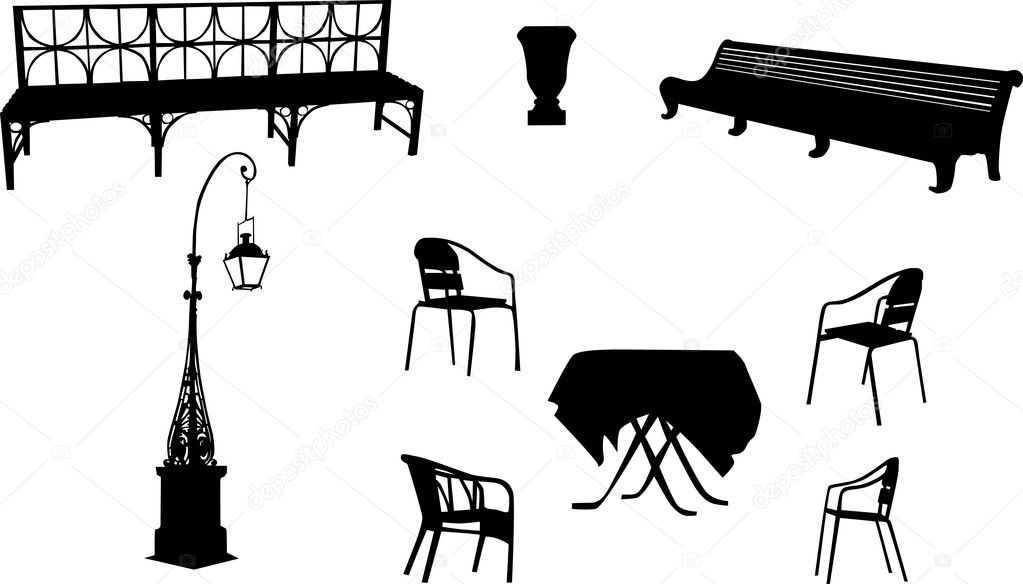 Illustration with chairs, benchs, street lamp and table  Stock Vector #6260696