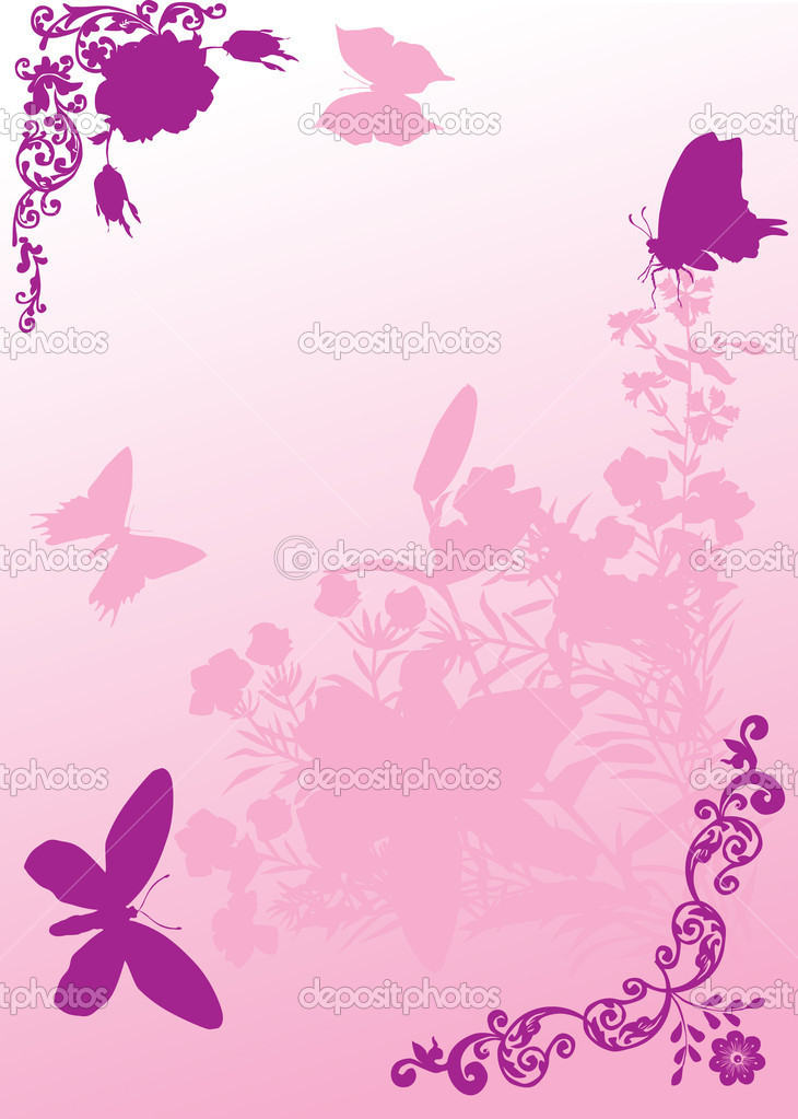 Flores Y Mariposas Rosadas Foto de archivo libre de regalías ...