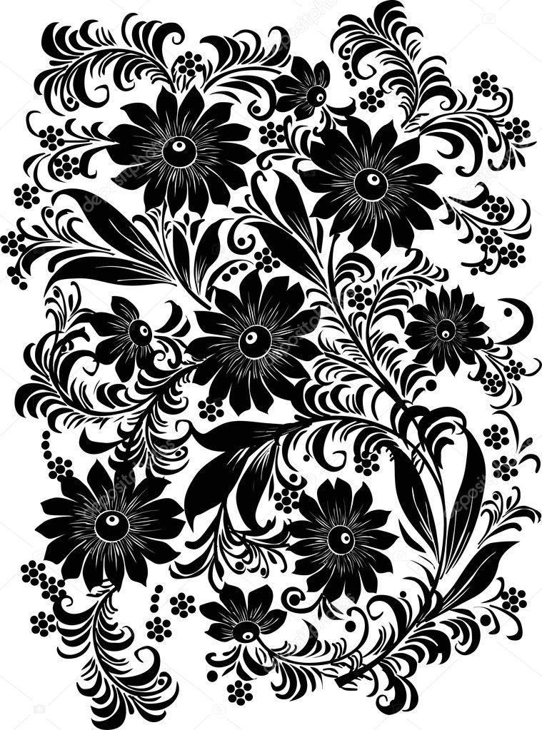 Flower Vector Black And White Black And White Flower