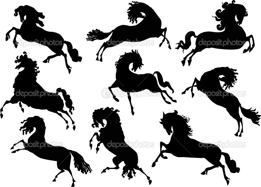 Illustration with horse silhouettes collection isolated on white background — Stock Vector #6261077