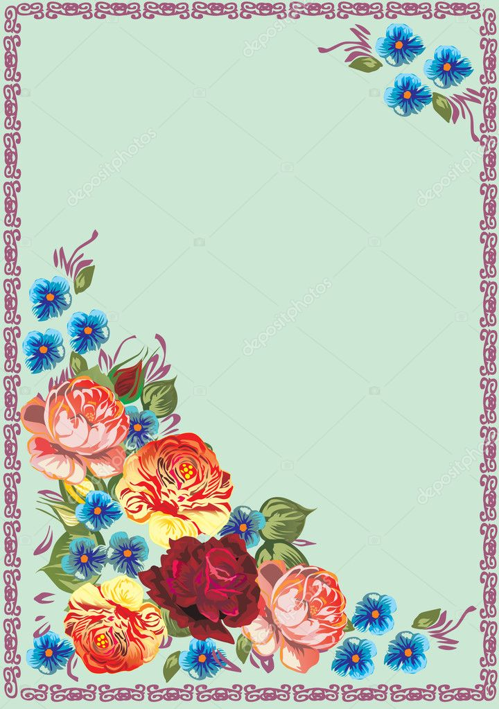 Illustration with floral frame decoration on blue background — Stock Vector #6261234