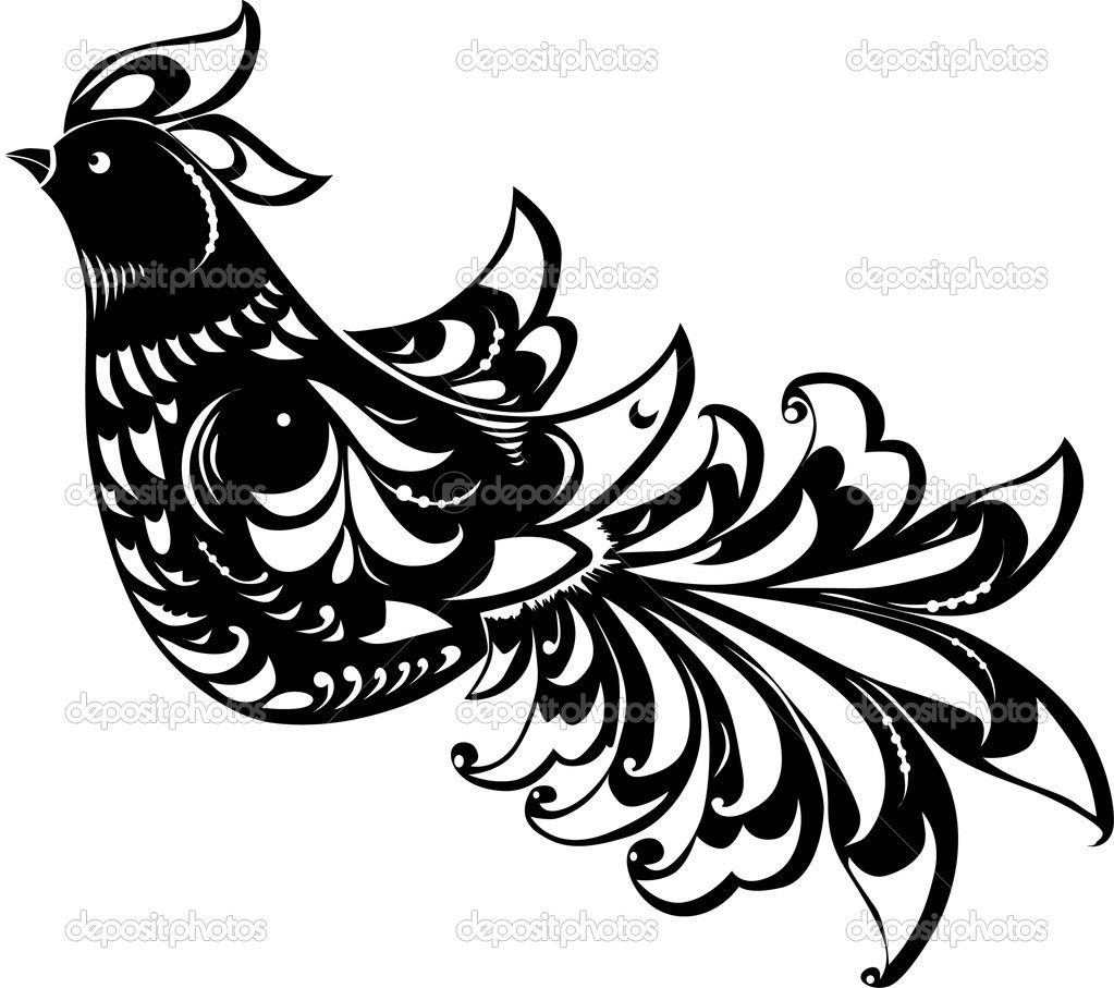 Black abstract bird - stock illustration