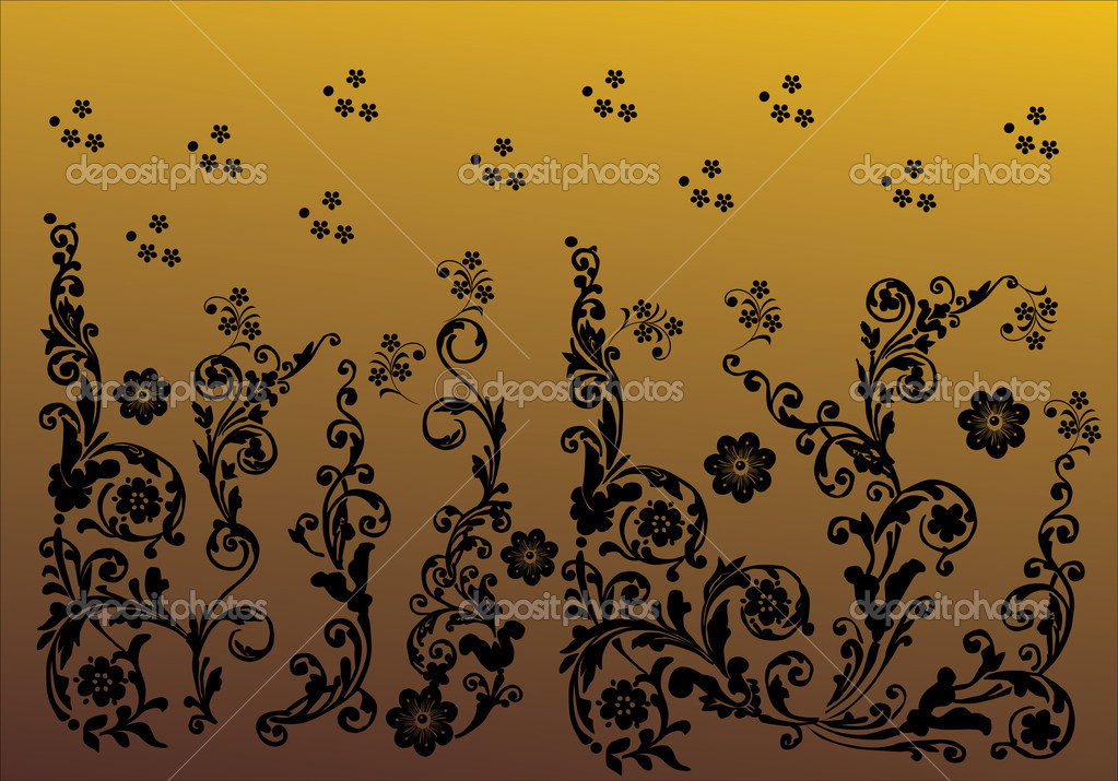 Floral ornament elements collection isolated on brown background — Stock Vector #6261310