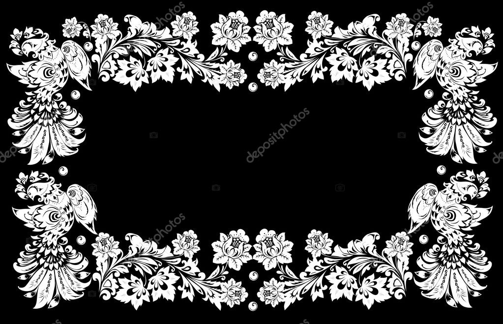 Illustration with white four birds frame on black — Stock Vector #6261330