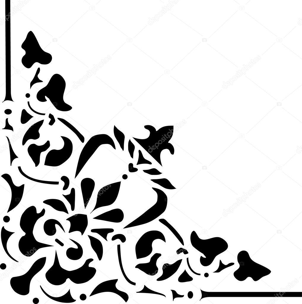 Stock Vector Dr Pas 6261329: Black Pattern Wit Triangular Corner