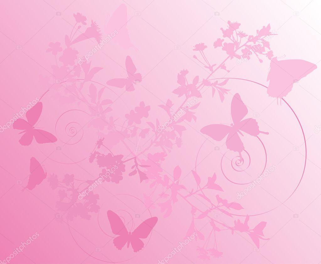 Pink cherry tree flowers background stock vector dr - Papel pintado plateado ...