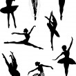 Eight ballet dancers — Stock Vector