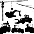 Royalty-Free Stock Vector Image: Set of building machine silhouettes