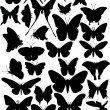 Thirty six butterfly silhouettes — Stock Vector