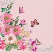 Butterflies on pink rose corner - Stock Vector