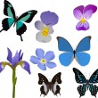 Blue butterflies and flowers collection — Stock Vector #6327513