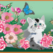 Kitten in flowers — Vector de stock