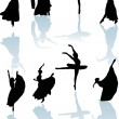 Eight dancers with reflection — Stock Vector