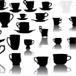 Set of cups with reflections — Stock Vector