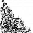 Stock Vector: Black curled floral corner pattern