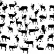 Thirty four deer silhouettes — Stock Vector