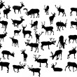 Thirty four deer silhouettes — Stockvectorbeeld