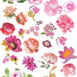 Large set of pink flowers - Stock Vector