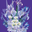 Iris bouquet on blue background - Stock Vector