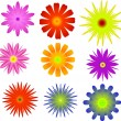 Nine bright color flower collection — Stock Vector